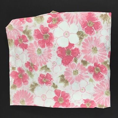 Vintage MCM Tranquale Dan River Twin Fitted Sheet Floral Daisy Pink Taupe USA