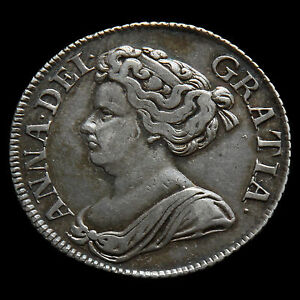 1712 Queen Anne Early Milled Silver Shilling