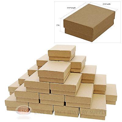 25 Kraft Cotton Filled Gift Boxes 3 14 X 2 14 Jewelry Pendant Box