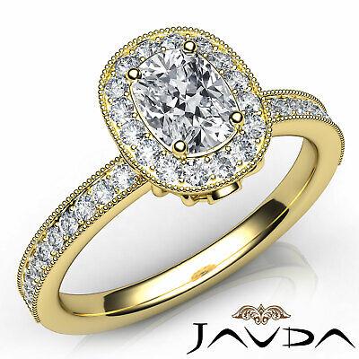 Milgrain Halo Pave Bezel Set Cushion Shape Diamond Engagement Ring GIA H VS1 1Ct 7