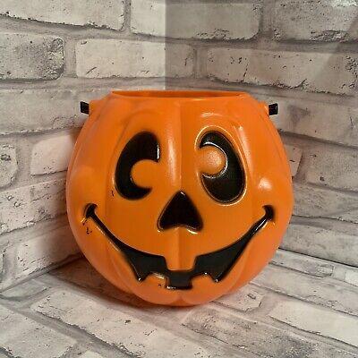 Jack O Lantern Pumpkin Candy Bucket Pail 1997 Vintage Trick Or Treat 90s