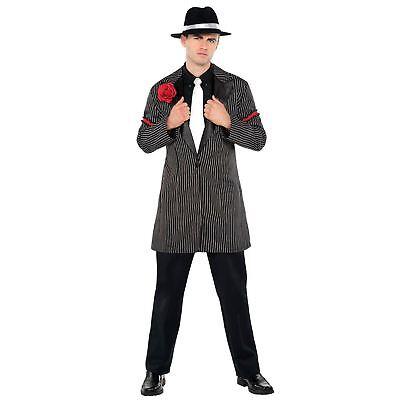 Adult Mens Roaring 20s Gatsby Mafia Mob Pinstripe Zoot Suit Jacket Fancy Dress