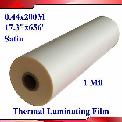 1roll 17.3inch656ft Matte Satin Roll Laminating Film Uv Thermal Hot Glue Film