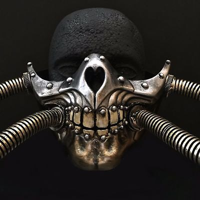 Halloween Horrible Half Skull Teeth Pipe Steampunk - Steampunk Half Mask