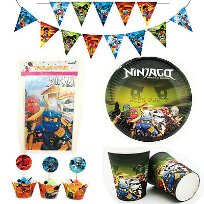 50pcs/lot Ninjago Theme for 12 Kids Party Supplies Decoration Tableware Set