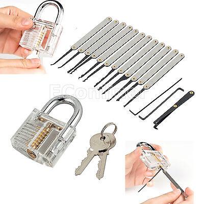 Unlocking Lock Pick Set Key Extractor And Tool Transparent Practice Padlock New