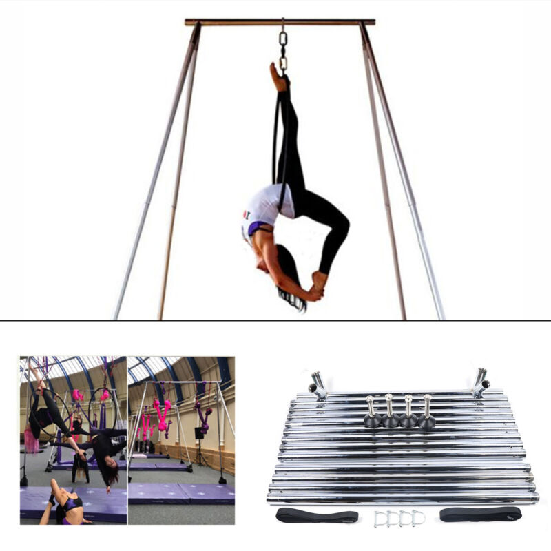 Yoga Aerial Trapeze Stand Aerial Rig Yoga Swing Bar Frame w/ Foot Pad 330kg Load