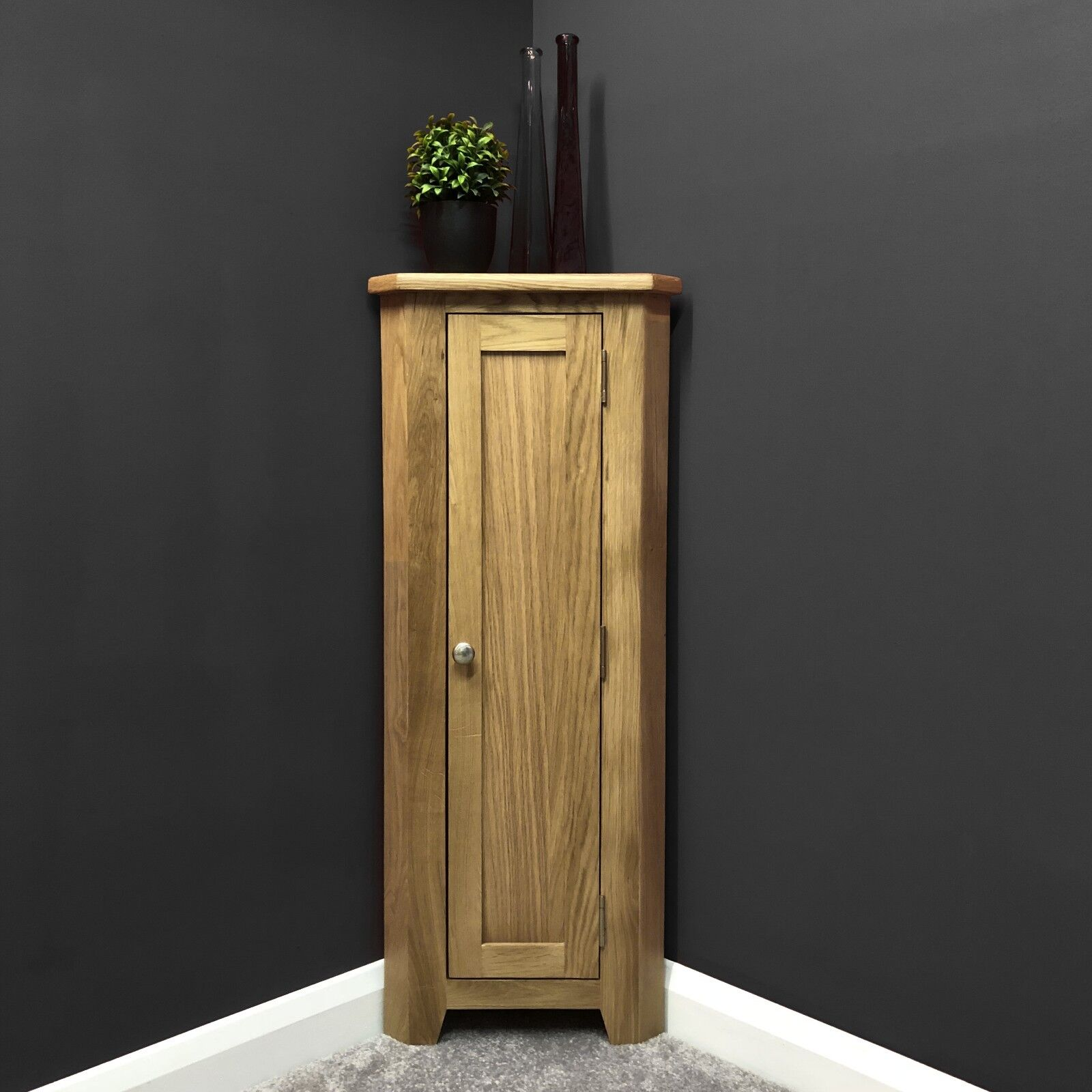 Details About Oak Corner Cupboard With Shelf Slim Wood Corner Storage Unit Narrow Harvard