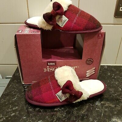 SLIP ON LADIES TOTES SIZE 7/8 ISOTONER PILLOWSTEP MULE SLIPPERS RED CHECK BOW