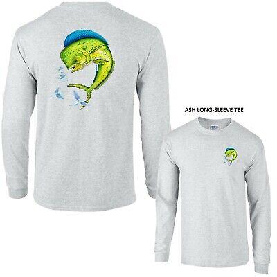 Bull Dolphin Saltwater Ocean Deep Sea Fishing Long Sleeve Tee T-Shirt
