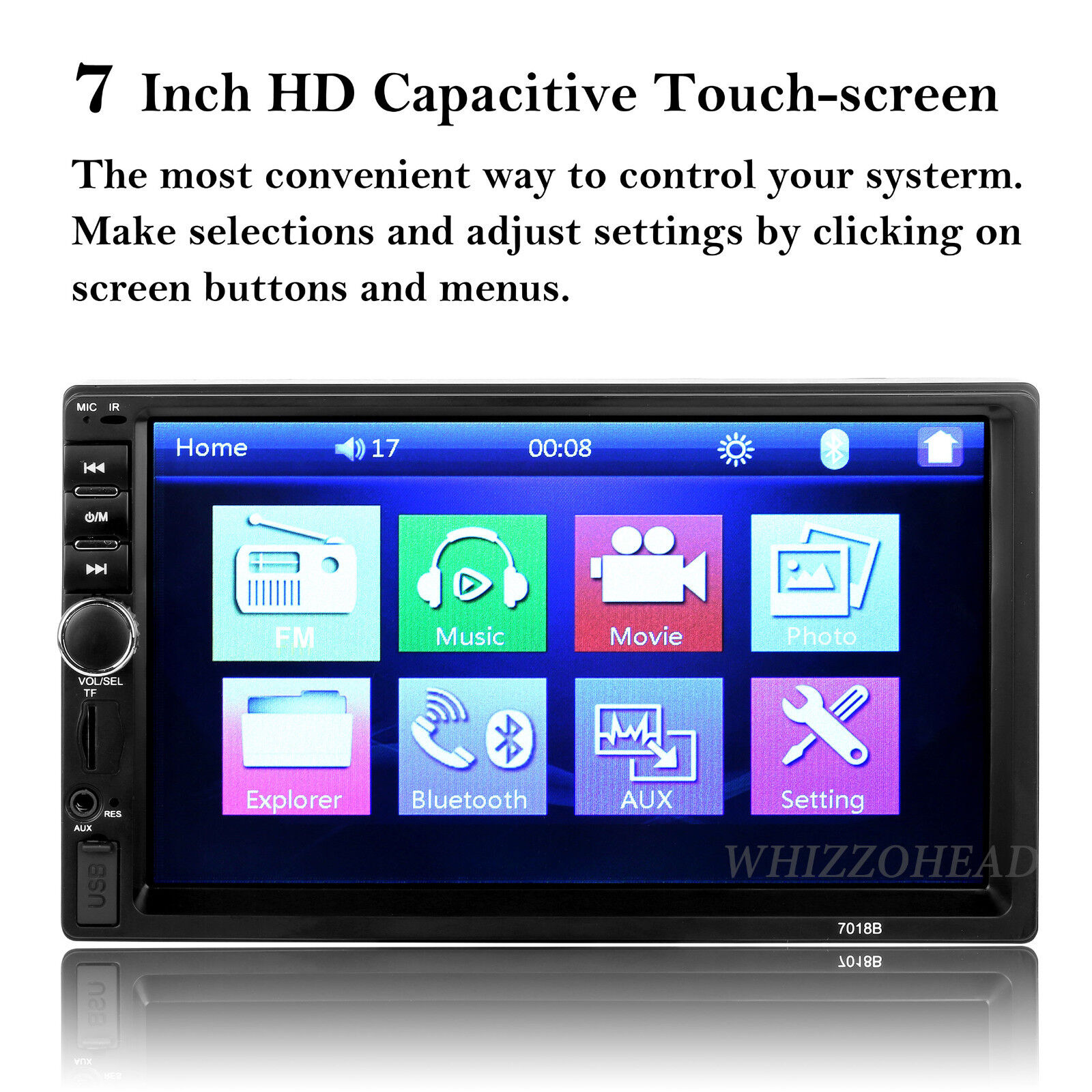 Double Din in-Dash Head Unit Car Stereo Audio Bluetooth 7 inch Touch Screen MP5 Car Audio