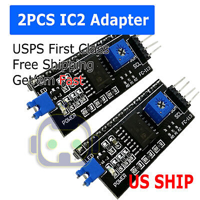 2pcs I2ciictwi Serial Interface Board Module For Arduino Lcd 1602 Us Ship N50