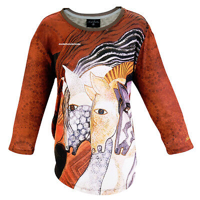 Laurel Burch T-Shirt 3/4 Sleeve Moroccan Mares Horses Polyester New ()