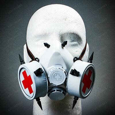 Steam Punk Gas Mask Goth Halloween Costume Respirator Prop Cosplay White Red
