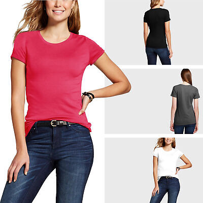 Womens Crew Neck T Shirts Short Sleeve Basic Tee Top Solid Plain Colors