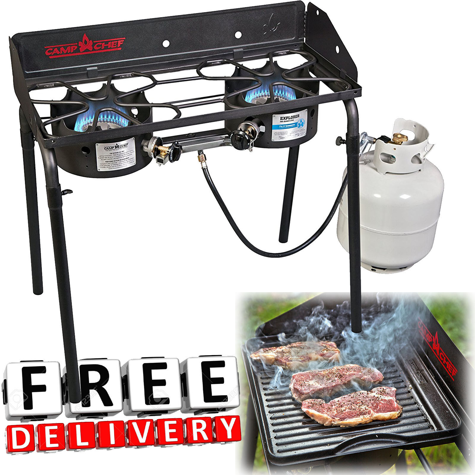 2 Burner Propane Stove Camping Camp Portable Cooking Grill B