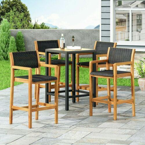 Daiquan Outdoor Acacia Wood Barstools with Outdoor Mesh (Set of 4) Benches, Stools & Bar Stools