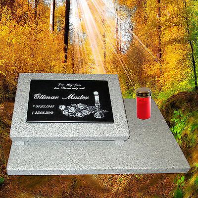 Grabstein Grabplatte Grabmal Gedenkstein Grabschmuck ca. 60x40 cm Granit Gravur