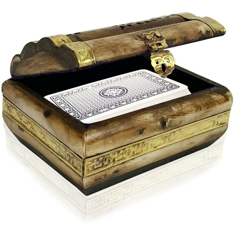 Buffalo Bone and Brass Purple Velvet Lined Trinket Box, Tarot Cards Storage Box