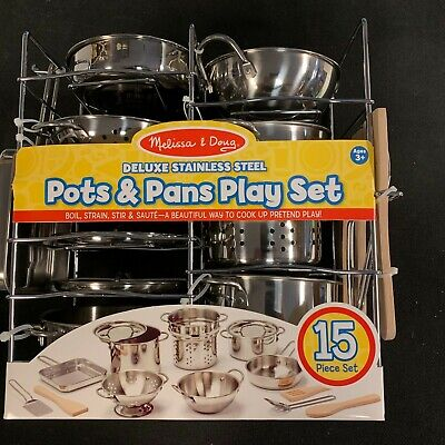 DELUXE NEW Melissa & Doug Stainless Steel Pots and Pans Kitchen PLAY Set 30340