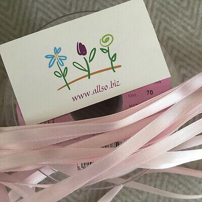 Berisfords #70 PALE PINK BABY Satin Ribbon 3mm, 7mm, 10mm, 15mm, 25mm  Free P&P (Pale Pink Ribbon)