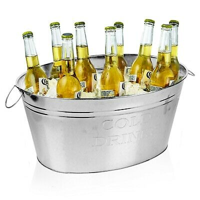Large Galvanised Metal Wine Champagne Beer Bottle Ice Cooler Bucket Party Tub