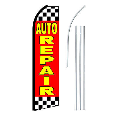 Auto Repair Redyel - Advertising Sign Swooper Feather Banner Flag Pole Only