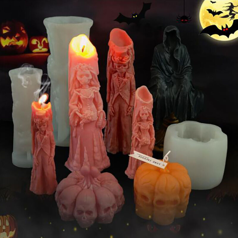 3D Halloween Skull Pumpkin Silicone Candle Mold DIY Silicon Resin Epoxy Mould