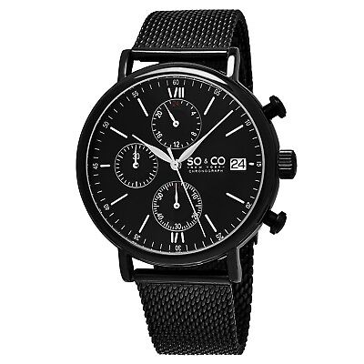 SO&CO NY 5266M.3 Men's Chronograph Black Mesh Stainless Steel Quartz Wrist Watch