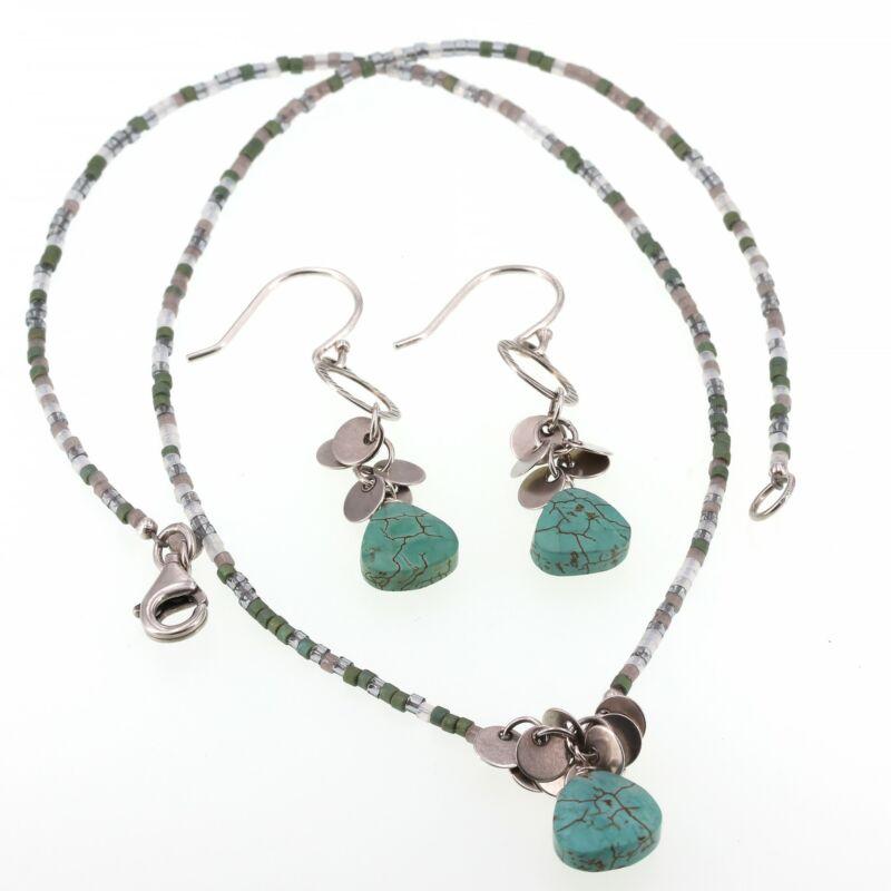 """Silpada """"Fresh Glow"""" Necklace & Earrings Set Sterling Silver Howlite N2325 W2365"""