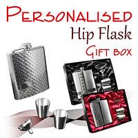 Personalised Hip Flask Gift Box 7 - 8 Oz Wedding Groom Usher Best Man -  - ebay.co.uk