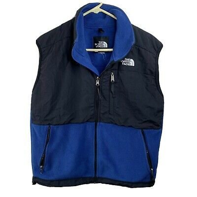 The NORTH FACE Denali Vest Blue/Black Fleece Polartec sz M/L Jacket VTG