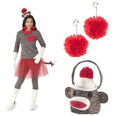 Monkey Costume Women (Chasing Fireflies Sock Monkey Costume, Earrings, Treat Bag, Women's 4/6)