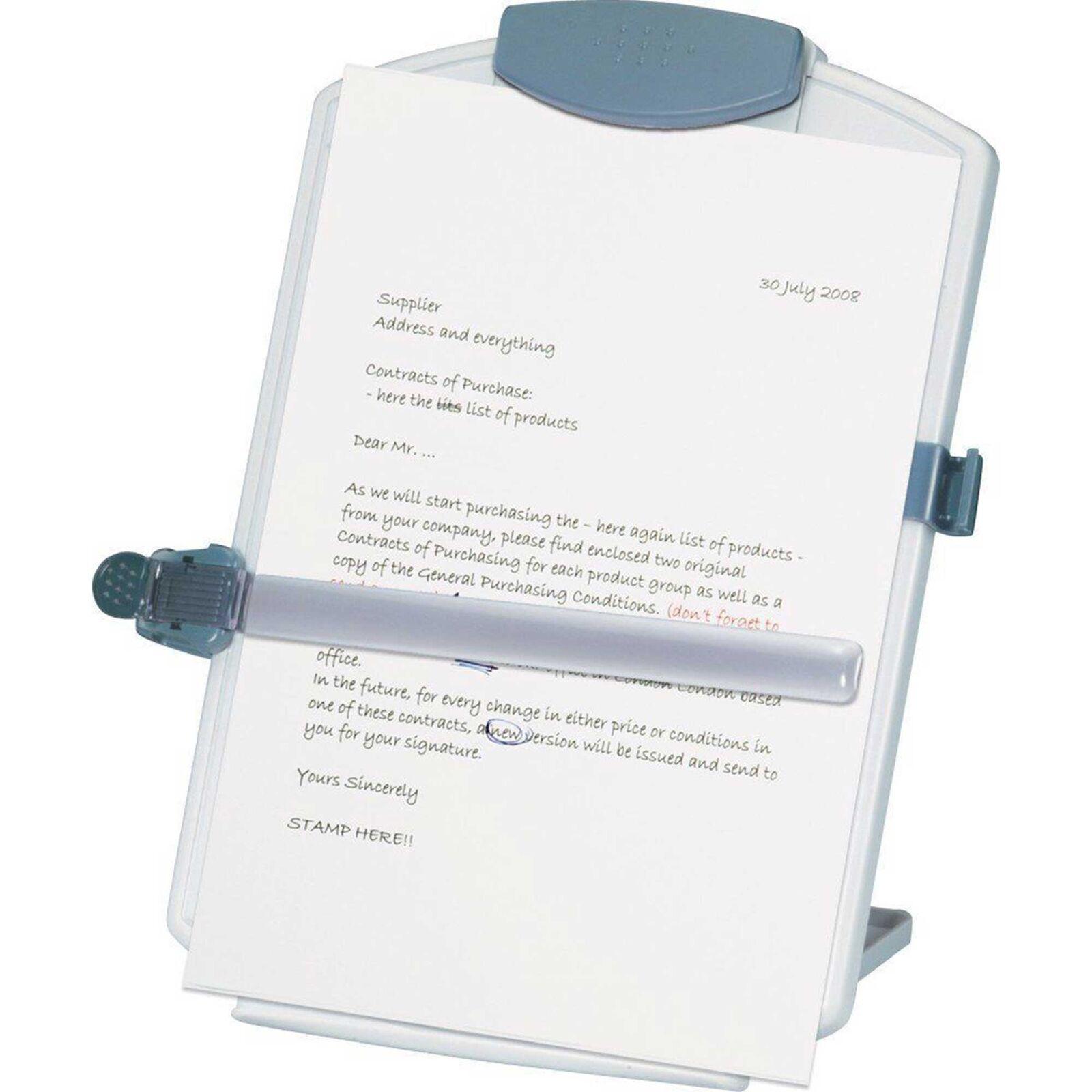 Konzepthalter Q-Connect KF04521, für A4, grau, Leseständer, Dokumentenständer