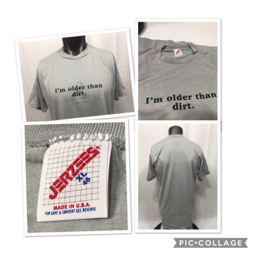 Vintage 90s OLDER THAN DIRT t shirt size XL Gray funny gift