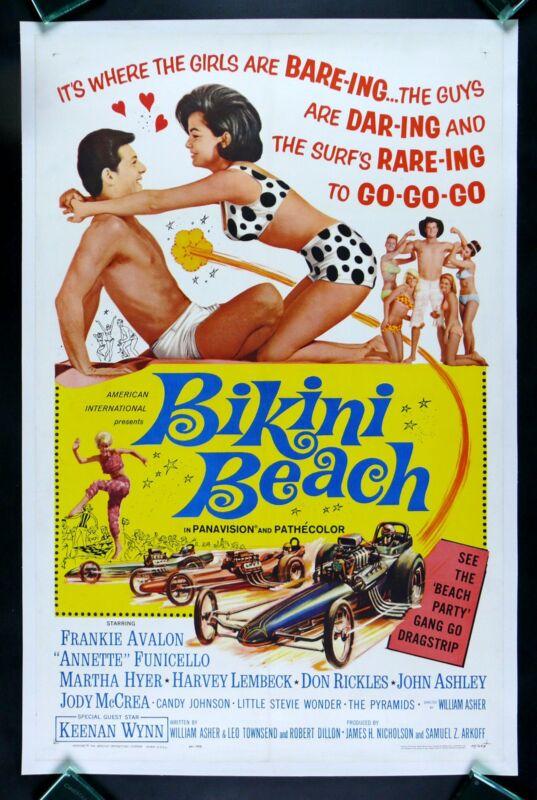 BIKINI BEACH * ANNETTE FUNICELLO FRANKIE AVALON ORIGINAL 1SH  MOVIE POSTER 1964