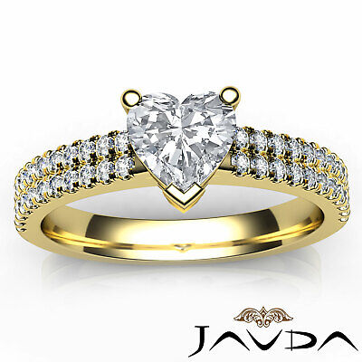 Double Prong Set Heart Natural Diamond Engagement Ring GIA Certified F VVS2 1Ct 10