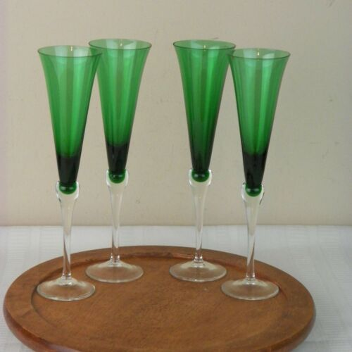 "Lenox Emerald Green Champagne Stem Flutes  Glasses Lot 4 11"""