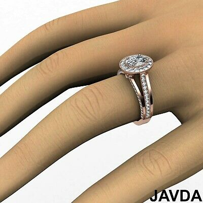 Oval Diamond Halo Pre-Set Bridal Engagement Ring GIA E VVS1 18k White Gold 1.4Ct 11