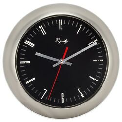 20801 Equity by La Crosse 11 Brushed Metal Silent Sweep Analog Wall Clock