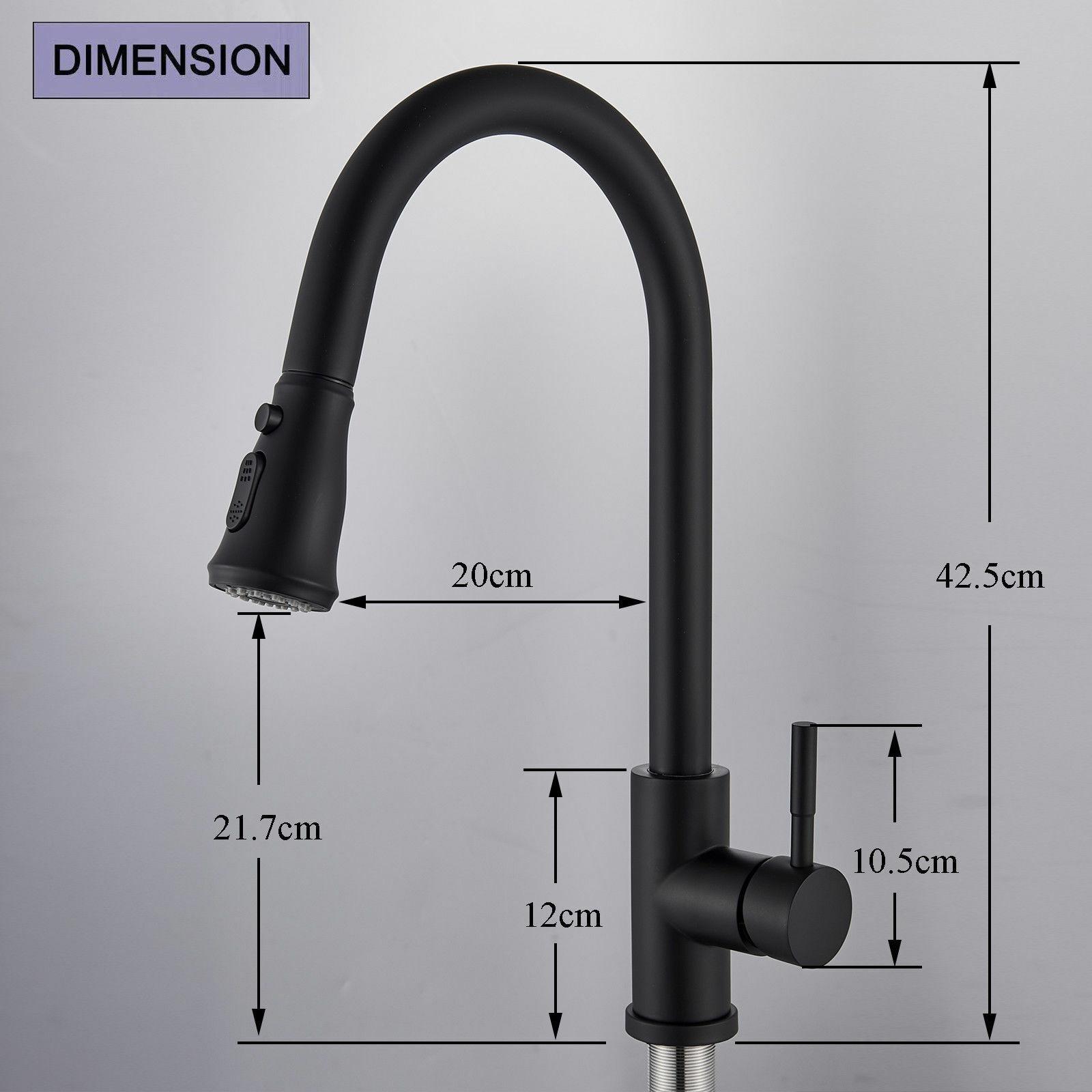 Kitchen Faucet Black Pull Down Sprayer Head 3 Holes Sink Taps W/soap dispenser 10