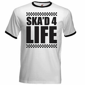 Skad-for-Life-Mens-ringer-Style-T-Shirt-Specials-Tone-Two-Madness-Ska