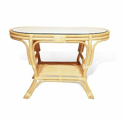 Coffee Oval Table with Glass Top Pelangi Wicker Natural Rattan Handmade, Cream