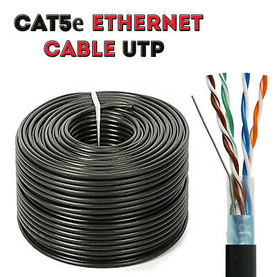 CAT5 100M Outdoor External Ethernet Cable Black UTP LAN Network Best Quality