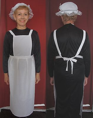 Downton Abbey Maid Costume (ADULTS VICTORIAN MAID COSTUME 10-16 WAITRESS APRON & MOP HAT DOWNTON ABBEY )