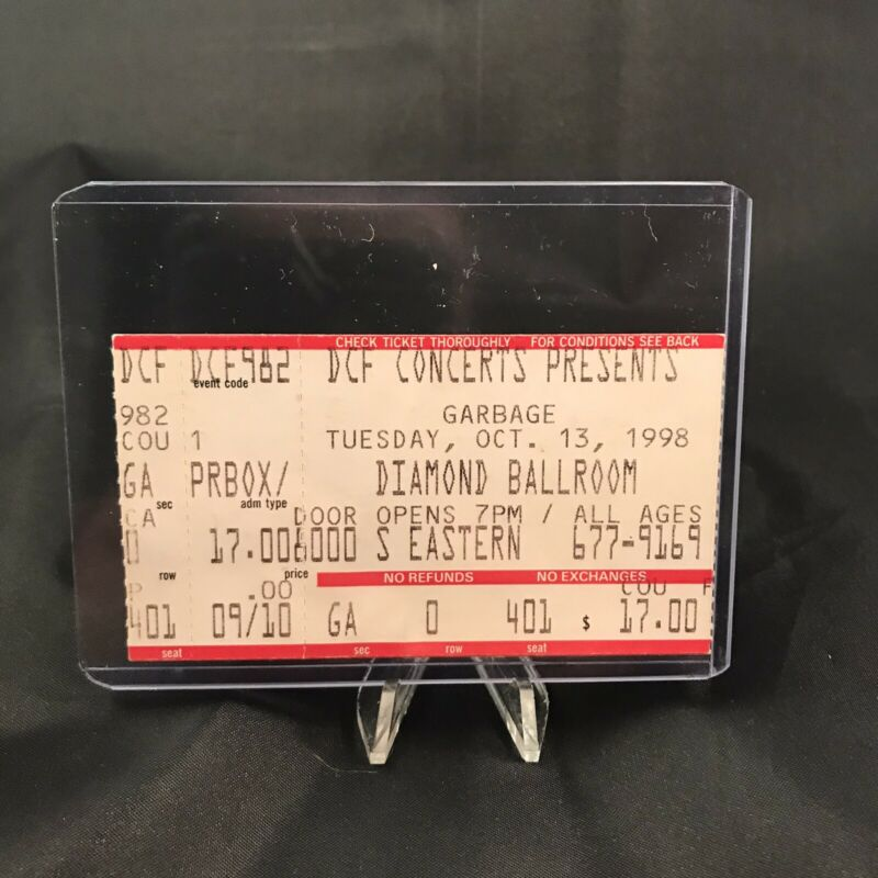 Garbage Diamond Ballroom Oklahoma City Concert Ticket Stub Vintage October 1998