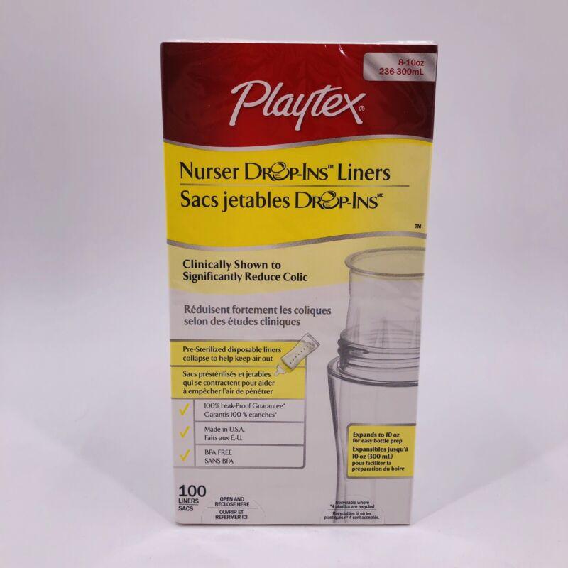 Playtex Nurser Drop In Liners 8-10 oz BPA Free Leak Proof Made in USA 100 Pack