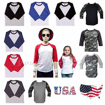 Kids T-Shirt Raglan Baseball Jersey Casual Plain Toddler Boys Girl Unisex Tee