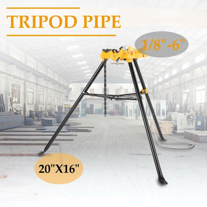 """Portable 460 6"""" Tripod Pipe Chain Vise Stand w/ Large Base O"""