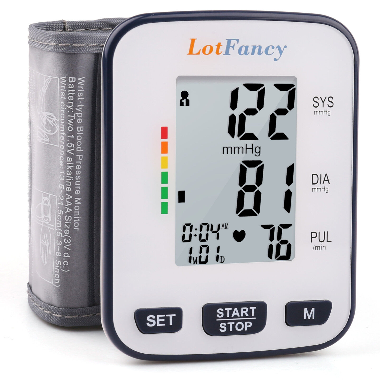 LotFancy Wrist High Blood Pressure Monitor BP Cuff Machine G